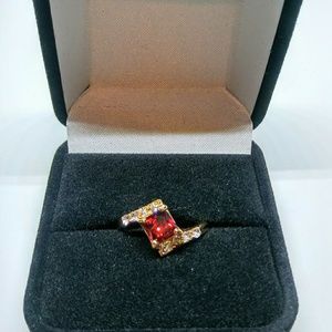 Jewelry - Red Garnet & 14K Gold Ring Size 8 NIB!